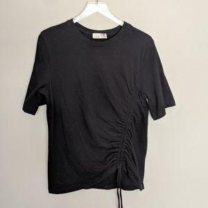 Everleigh Drawstring Cinch Waist Black T-Shirt